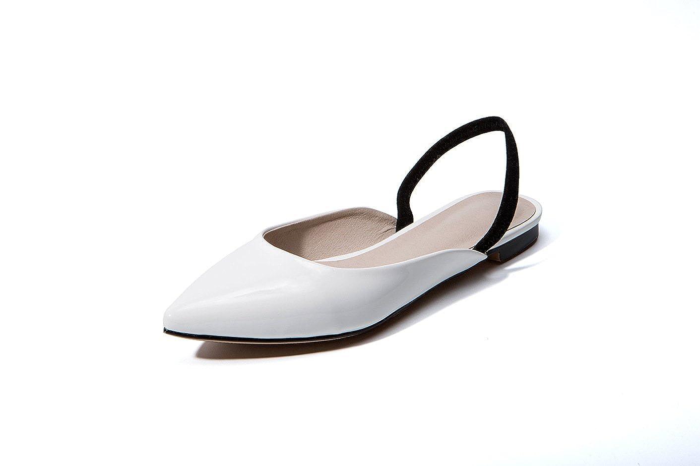 Unbekannt Damen Sandalen Flachbild Baotou Gummizug Rücktaste Hingewiesen Weiß 40