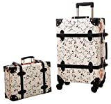 Urecity PU Leather Floral Printing Spinner Retro Luggage and Cosmetic Bag 2PCS Set - 24 Inch White Set