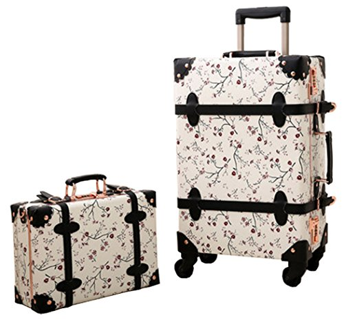 Urecity PU Leather Floral Printing Spinner Retro Luggage and Cosmetic Bag 2PCS Set - 24 Inch White Set by Urecity