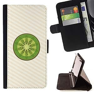 BullDog Case - FOR/Sony Xperia m55w Z3 Compact Mini / - / Minimalist Kiwi Fruit Slice /- Monedero de cuero de la PU Llevar cubierta de la caja con el ID Credit Card Slots Flip funda de cuer