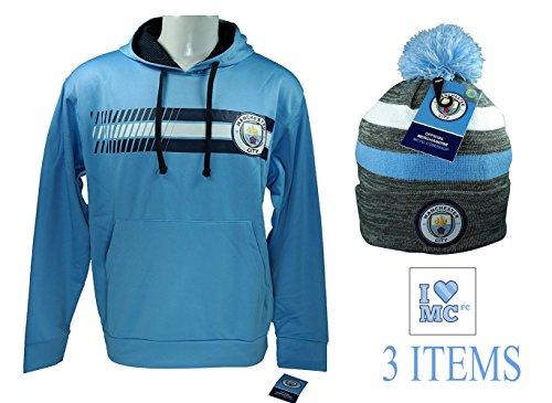 Manchester City Hoodie Zip Up Fleece Lining Sweatshirt Jacket Light Weight (Light Blue, S)