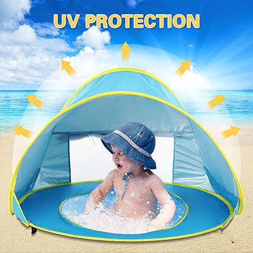 Lixada Tenda da Spiaggia per Bambini con Piscina Pop Up Portatile Impermeabile Sun Shelter Tenda da Sole Anti-UV Ultraleggero per Estate Spiaggia