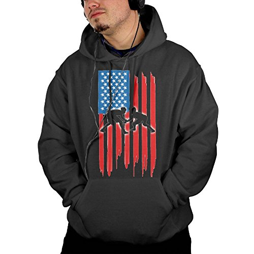 Bhfadso American Flag Wrestling Casual Pocket Hoodies Hooded Sweatshirt Black by Bhfadso
