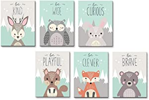 AEVIO Woodland Animals Wall Art Canvas Print Poster Deer Owl Rabbit Fox Bear Inspirational Quotes Art Decor for Living Room Bedroom Nursery Office(Set of 6 Unframed, 8x10 inches)