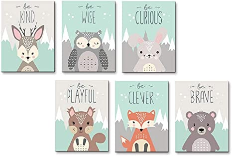 Amazon Com Aevio Woodland Animals Wall Art Canvas Print Poster Deer Owl Rabbit Fox Bear Inspirational Quotes Art Decor For Living Room Bedroom Nursery Office Set Of 6 Unframed 8x10 Inches Posters Prints