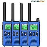 FLOUREON 4 Packs Walkie Talkies Two Way Radios 22 Channel 3000M (MAX 5000M Open Field) UHF Long Range Handheld Talkies Talky (Blue FC200)