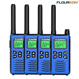 floureon Rechargeable Walkie Talkies for Adults Long Range Two Way Radio 22 Channel 3000M (MAX 5000M) USB Cable Charging Walkie Talkies for Outdoor Adventures Camping Hiking(4 Pack)