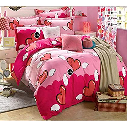 Image of HUROohj Cotton,The New Bedding Four Sets,European Style£¬Bedding Kits£¨ 4 Pcs£for Bed Size Twin/Queen/King,£­Queen Home and Kitchen