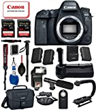 Canon EOS 6D Mark II Digital SLR Full Frame Camera Body Only USA (Black) 18PC Professional Bundle Package Deal –Professional Battery Grip + SanDisk Extreme pro 64gb SD Card +Canon Shoulder Bag + More