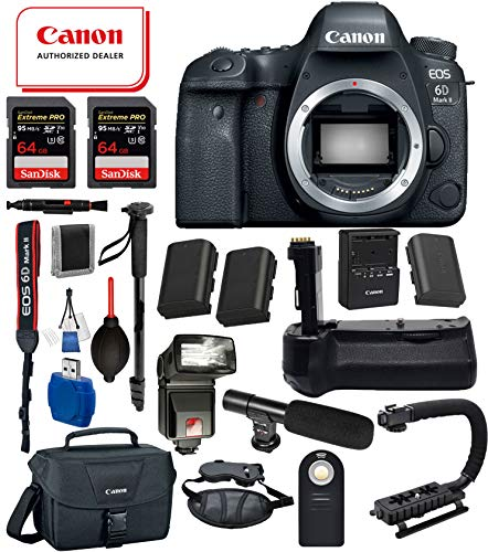 Cheap Canon EOS 6D Mark II Digital SLR Full Frame Camera Body Only USA (Black) 18PC Professional Bundle Package Deal –Professional Battery Grip + SanDisk Extreme pro 64gb SD Card +Canon Shoulder Bag + More