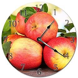 EasySells 10.5 Fresh RED Apples Clock - Printed Clock - Large 10.5 Wall Clock - Home Décor Clock