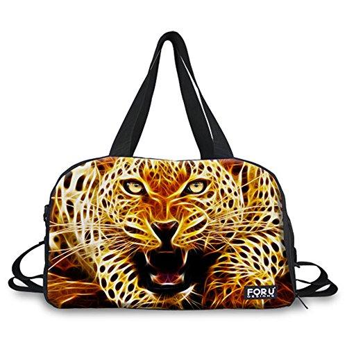 FOR U DESIGNS Leopard Print Durable Canvas Outdoor Duffel Handbag by FOR U DESIGNS