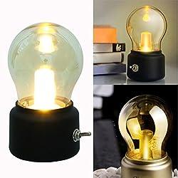Gillberry Retro Bulb Night Sleeping Lamp USB Chargeable Kid Bedside Night Light (Black)