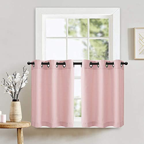 Pink Tiers Curtains Panels for Bedroom Half Window Curtains Privacy Casual Weave Textured Window Treatment Set of 2 Pcs 24 Inches Length