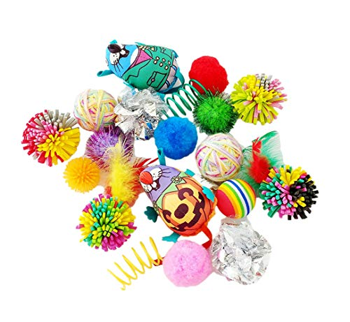 PET SHOW 20pcs/Lot Cats Toys Interactive Balls Variety Pack for Kitten Mice Feather Sparkle Crinkle Ball Bells Spring