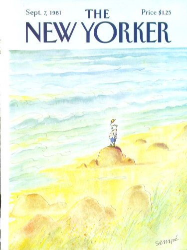 New Yorker cover Sempe man tipping hat to sand 9/7 1981 ()