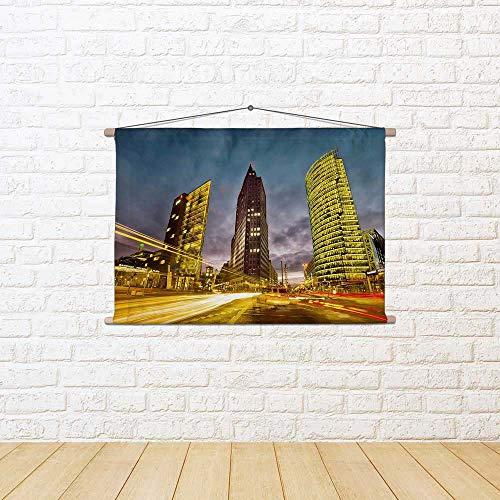 ArtzFolio The Potsdamer Platz in Berlin, Germany Canvas Painting Tapestry Scroll Art Hanging 55.9 X 37.3Inch (Grad Platz)