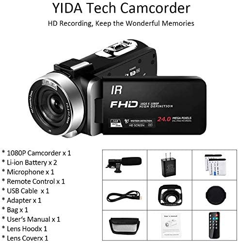 Video Camera Camcorder Full HD 1080P 30FPS 24MP Vlogging Camera for YouTube 16X Digital Zoom IR Night Vision Camcorder with Microphone Remote Control Lens Hood and a couple of Batteries Time Lapse Webcam