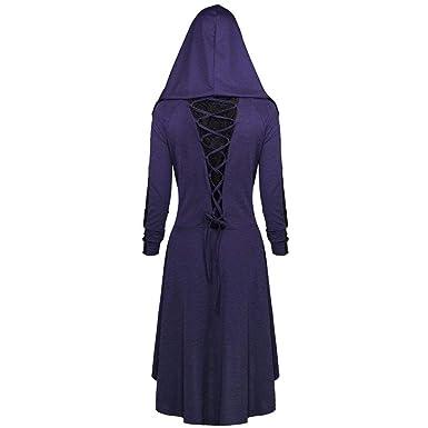 0dc2430370a Femmes Robe À Capuche Manches Longues Lacet Dentelle Halloween Chi Pas  Cher