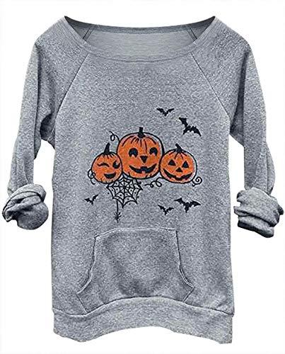 Women's Pumpkin Queen Halloween Letters Graphic Sweatshirt Casual O-Neck Pullovers Tops Blouses (Large, Light Grey) -