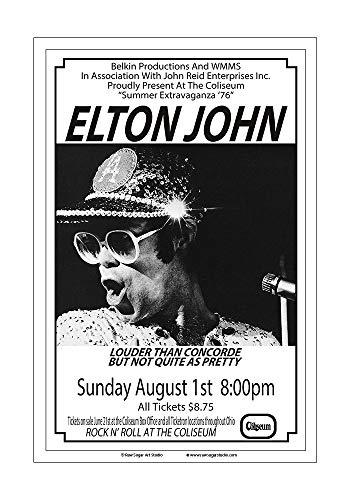 1976 Chateau - Raw Sugar Art Studio Elton John 1976 Cleveland Concert Poster