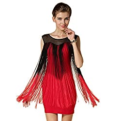 Gatsby Dress 1920s See Through Red Flapper Clubwear Embroidery Dress