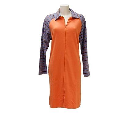 Tessilbianco Bata para Mujer de Forro Polar con Cremallera Completa Arancio 5