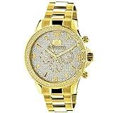 LUXURMAN Liberty Mens Diamond Watch for Sale 0.2ct Yellow Gold Plated