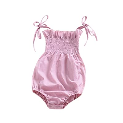 Freshzone Summer Girls Infant Baby Strap Solid Romper Playsuit Outfits