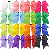 Qtgirl 16Pcs 7' Girls Big Cheer Hair Bows Large Cheerleading Hair Bow with Elastic Tie for Woman and High School Teenager in Sport