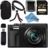 Panasonic Lumix DC-ZS70 DC-ZS70/K Digital Camera (Black) + Sony 32GB SDHC Card + Small Carrying Case + Flexible Tripod + Micro HDMI Cable + Memory Card Wallet + Card Reader + Fibercloth Bundle
