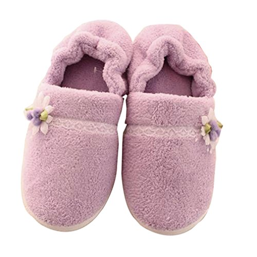 Amiley Womens Plush Indoor All-inclusive Soft House Slipper Winter Loafer Shoes Purple vG38yG