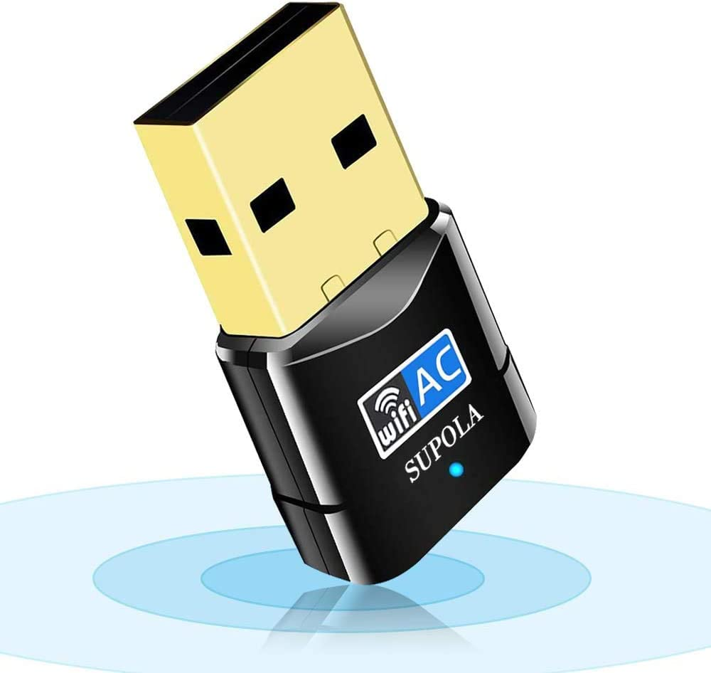 SUPOLA USB WiFi Adaptador, WiFi Antena 600Mbps Mini USB WiFi Dual Band 2.4G/5G, Receptor WiFi para PC Laptop Desktop,WiFi Dongle Soporte ...