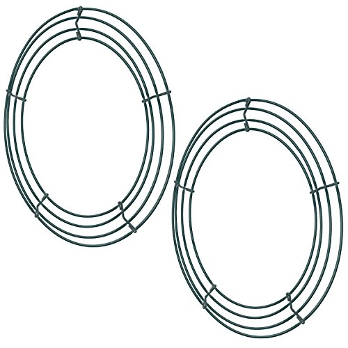 Sumind 2 Pack Wire Wreath Frame Wire Wreath Making Rings Green for New Year Valentines Decoration (12 ()