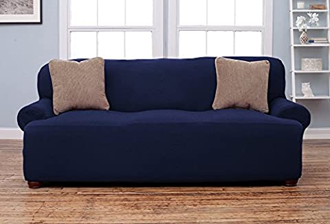Chair Loveseat Sofa Couch Protect Cover Stretch Slipcover ,Collection Strapless Slipcover, Form Fit, Slip Resistant, Soft, Lightweight Fabric (Ottomans, Navy (Couch Cover Ottoman)