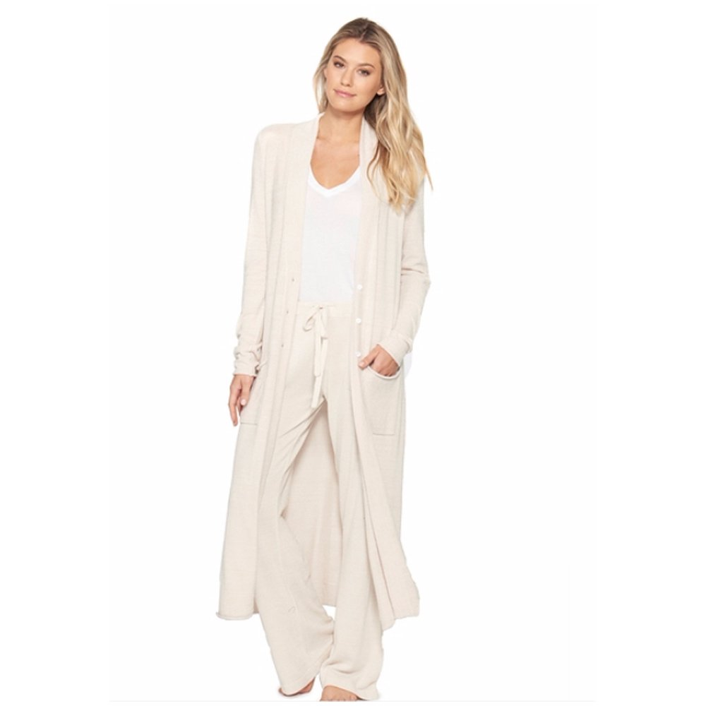 Barefoot Dreams CozyChic Ultra Lite Women's Duster, Long Sleeve, Open Front Long Maxi Cardigan Duster With Two Pockets-Sand Done