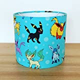 Handmade 20cm Ceiling Fabric Lampshade featuring Pokemon Characters, Blue.