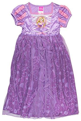 [Disney Princess Rapunzel Girls Fantasy Gown Nightgown (8, Lilac)] (Disney Princess Gowns For Kids)