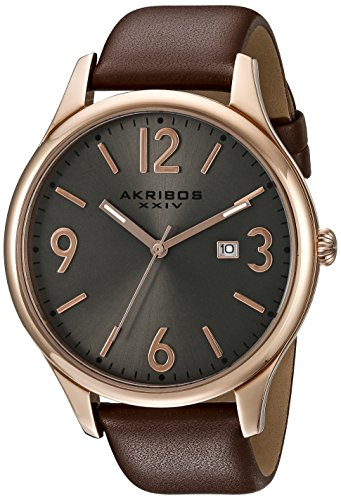 Akribos XXIV Men's AK869RG Round Silver Dial Three Hand Quartz Rose Gold Tone Strap Watch