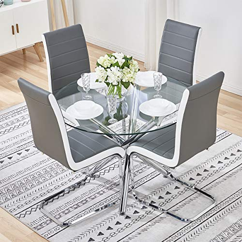 Stylish Clear Glass Table and 4 Chairs Set PU Leather High Back Dining Chairs 90cm Round Dinner Table Esthetic Cross Chrome Legs Stable Home Kitchen Office Reception Furniture - Grey with White Sides