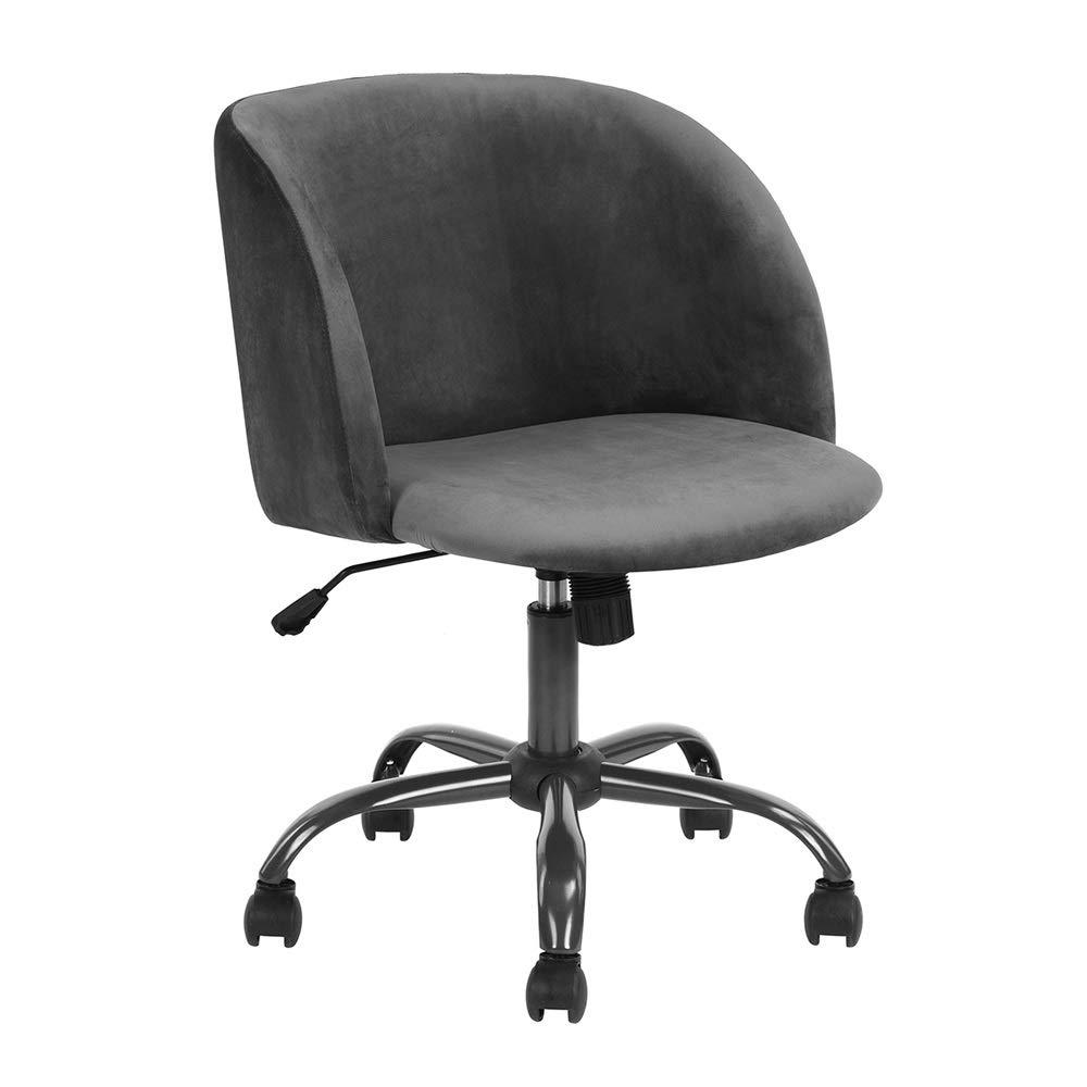 Homy Casa Swivel Desk Chair Task Chair Scandinavian Computer Chair Height Adjustable Upholstered Velvet Fabric Seat with 360 Degree Castor Wheels (Grey) by HOMY CASA