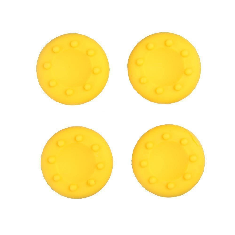 Analog Silicone Thumb Stick Grip Joystick Caps Cover for PS4 PS3 Xbox 360 Xbox One Game Controllers (4 x Yellow)