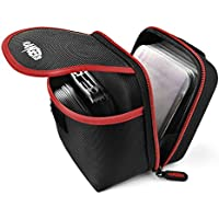 Rangers Extra-large Storage Space Lens Filter Pouch for Round or Square Filters, includes 12 Filter Protective Sleeves and Carabiner, Durable design, Black