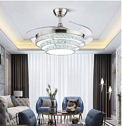 Sweety House 42 Crystal Fan Chandelier, LED Invisible Fan Blades With Remote Control Lights Adjustable Wind Speed For Dining Room Living Room Bedroom Decoration 42 inches-silver