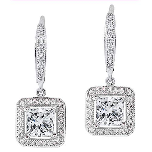 Jade Marie Enchanting Silver Dangle Crystal Halo Earrings, 18k White Gold Plated Princess Cut Dangle Earrings with Cubic Zirconia Crystals, Beautiful