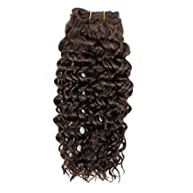 """Double Drawn 12"""" 321g/3Bundles Kinky Curly Water Wave Hair Weft for Black Women 7A+ 100% Real Natural Brazilian Virgin Remy Human Hair Weave Extensions Full Head Short Bobs Medium Brown(#4)"""