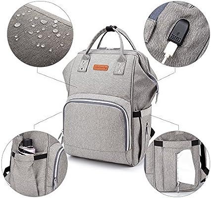 9f6e53bfde773 BISON DENIM Verbesserte Version Wickeltasche Große Fähigkeit Wasserdicht  Wickeltaschen Diaper Bag Mode Rucksäcke Baby Backpack (Grau)