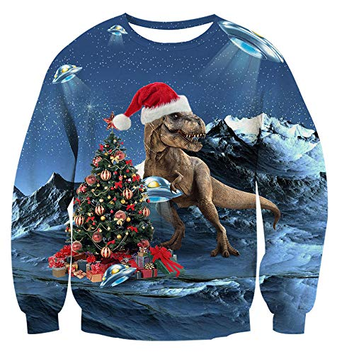 TUONROAD 3D Print Mens Ugly Christmas Pullover Sweater