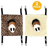 EONMIR Small Pet Animal Hamster Hammock for Cage,House Hanging Bed Cage Toys for Mice Rats Chinchilla (2Pack Leopard Print)