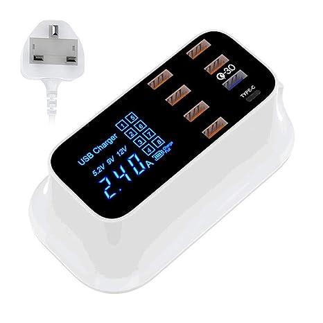 LayOPO Cargador USB De 8 Puertos con Un Puerto Tipo C Un ...